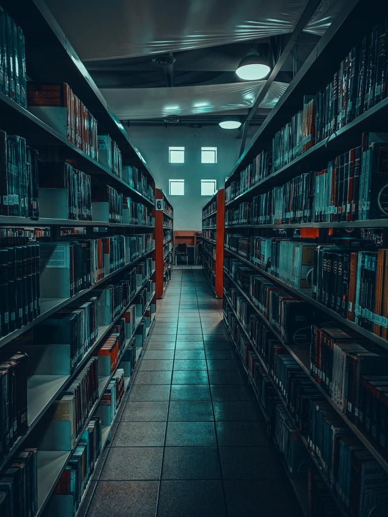 Library shelves. Photo by Alejandro Bodart on Unsplash